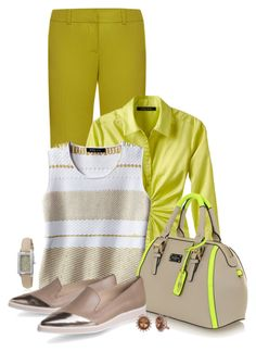 Office outfit: Lime - Beige by downtownblues on Polyvore