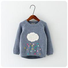 Новая зимняя мультфильм новорожденных девочек свитер cloud капли дождя детская одежда детская свитер теплый с длинным рукавом для девочек трикотаж купить на AliExpress