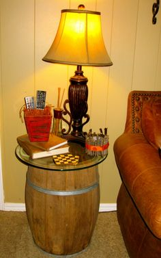 DIY: Barrel Table made out of an old wine or whiskey barrel.