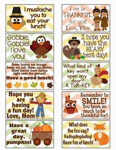 FREE Thanksgiving/Fall Lunch Box Notes | http://MySunWillShine.com