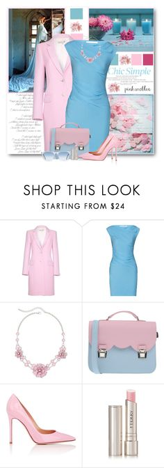 """""""Pink & Blue"""" by brendariley-1 ❤ liked on Polyvore featuring Damsel in a Dress, Diane Von Furstenberg, Mixit, La Cartella, Gianvito Rossi, By Terry, Oliver Peoples, women's clothing, women's fashion and women"""