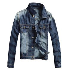 Check current price Men's Casual Denim Jacket Slim Jeans Jacket Casual Nicely Stone Washed Lapel Slim Fit Blue Denim Jean Bomber Jacket For Men just only $29.19 with free shipping worldwide  #jacketscoatsformen Plese click on picture to see our special price for you
