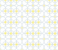 Chained Daisies -- in yellow on blue rings fabric by bargello_stripes on Spoonflower - custom fabric