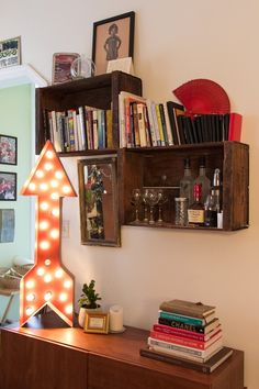 i love the way these distressed crates look as floating shelves cafe lighting living miccah