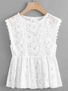 Smock Top sans manches en dentelle - Just DIY Trendy Dresses, Casual Dresses, Short Dresses, Casual Outfits, Girls Dresses, Look Fashion, Fashion Clothes, Fashion Dresses, Paris Fashion