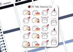 "Planner Stickers ""Blobby's Birthday"" Emoji Sticker Set - Erin Condren Life Planners"