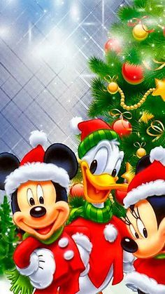 Minnie Mouse, Mickey Mouse Christmas, Mickey Mouse And Friends, Wallpaper Natal, Disney Wallpaper, Cool Wallpaper, Nice Wallpapers, Iphone Wallpapers, Christmas Paintings
