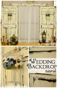 Wedding Backdrop Tutorial  sc 1 st  Pinterest & Attach foot to door http://shebuyshebuilds.com/repurposed-old-doors ...