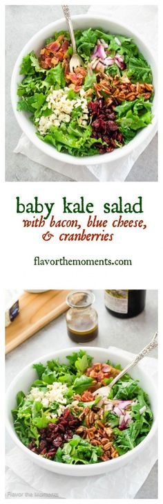 Baby Kale Salad with Bacon, Blue Cheese, and Cranberries - Flavor the Moments Kale Recipes, Side Dish Recipes, Pork Recipes, Vegetarian Recipes, Healthy Recipes, Pecan Recipes, Side Dishes, Salad Bar, Soup And Salad