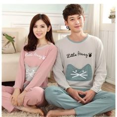 matching couple Kitten Pyjamas  Great Gifts for Cat lovers -  https://buzz.jifiti.com/gifts-for/15-best-gift-ideas-for-cat-lovers/ #Cat #Gift #Ideas