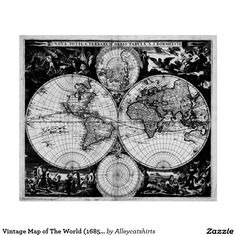 World map 1691 black light brown poster world black lights vintage map of the world 1685 black white poster gumiabroncs Image collections