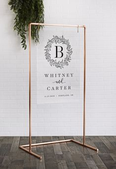 backdrop sign Copper Wedding Frame - Acrylic Welcome Sign with Copper Stand - Wedding Backdrop - Chalkboard Welcome Signs, Wooden Welcome Signs, Painted Wooden Signs, Logo Spa, Unplugged Wedding Sign, Rose Gold Frame, Copper Frame, Boho Wedding Decorations, Copper Wedding Decor