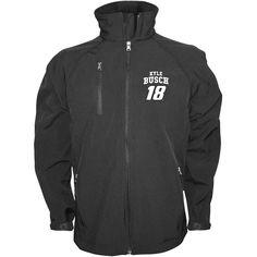 Kyle Busch Checkered Flag  Soft Shell Full Zip Jacket – Black - $59.84