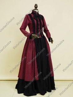 8af97126839 Gothic Victorian Dress Penny Dreadful Gown Dark Red Adult Vampire Witch  Halloween Costume Gothic Victorian Dresses