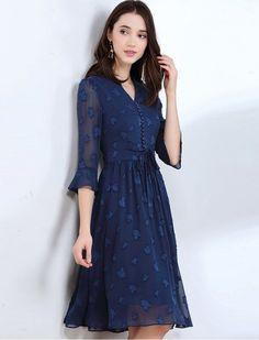Leaf Jacquard V Neck Retro Midi Dress 1940s Inspired