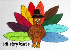 Flannel Board Story Set/ Turkey Felt Set/ Time for Thanksgiving/Counting Feathers/Seasonal Theme/Holiday/Teacher Resource/Daycare by FeltStoryBoards on Etsy