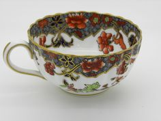 antique Spode Cup Saucer Plate Porcelain White Red Blue Gold Signed Copeland
