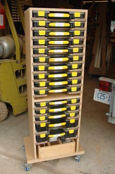 Mobile Modular Small Parts Rack PDF Plan - Inexpensive Adam Savage Style tool box/parts Rack Garage Workshop Organization, Diy Garage Storage, Workshop Storage, Tool Storage, Storage Ideas, Storage Trolley, Storage Drawers, Small Parts Storage, Small Parts Organizer