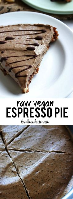 Enjoy coffee in pie form! This espresso pie has an almond-date crust and a cashew-based filling, complete with coffee and espresso beans! | #vegan #espresso