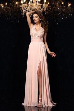 ab01fd5d9616 Charming Pink Lace Chiffon V-neck Open Back Classy Prom Dresses Z0579.  Chiffon Con PizzoAbito In OrganzaAbiti Di ...