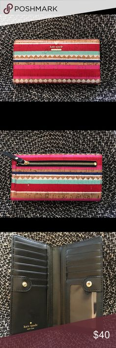 EUC ♠️Kate Spade♠️ Campus Lane Stacy Cork Wallet This EUC wallet is so cute for spring! Re-posh as it doesn't match my spring bags. My loss your gain! 😃🌸🌷💐🌺💕 kate spade Bags Wallets