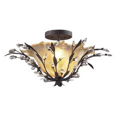 Elk Lighting 8059-2 Circeo 2 Crystal Droplets Light Semi Flush in Deep Rust