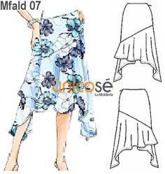 FALDA ASIMÉTRICA MUJER, CORTE REBECA. Diy Clothes, Clothes For Women, Skirt Patterns Sewing, Dresses Kids Girl, Casual Skirts, Knit Skirt, Printed Skirts, Diy Fashion, Baby Dress