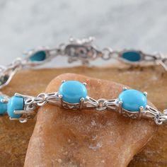 Arizona Sleeping Beauty Turquoise Bracelet in Platinum Overlay Sterling SIlver (Nickel Free)