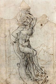 New Leonardo da Vinci drawing has been found in France.. Study of Saint Sebastian against a landscape. 1452-1519 Quil pen and brown ink