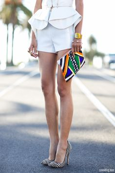 what-do-i-wear:    Mossman 'The Rise and Fall' vest – here | Mossman shorts | sass & bide beaded clutch | Lauren Marinis 'Gilda' pumps in zebra pony skin print – here(image: raww)