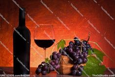 Stock photo available for sale at 3D Studio: Still Life With Bottle Of Wine And Grapes
