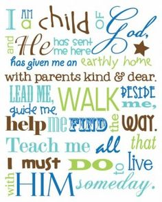 Child dedication.  I am a child of God poster,Great for a baby's room!