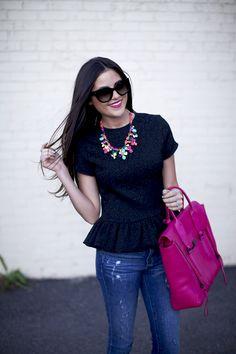 black short sleeve peplum shirt + ripped skinnies + statement necklace + magenta bag