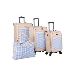 Isaac Mizrahi Greenwich Spinner Luggage Set in Blue Gingham - The Home Depot