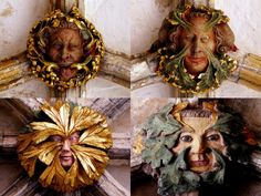 Some of the many lifelike Green Men on roof bosses in Norwich Cathedral, Norfolk, England