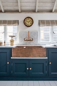 Home Decor Inspiration : Dark teal cabinets combined with beige white and timber. Home Decor Inspiration : Dark teal cabinets combined with beige white and timber touches hint at a nauti Farmhouse Sink Kitchen, Kitchen Paint, Rustic Kitchen, New Kitchen, Farmhouse Style, Rustic Farmhouse, Country Kitchen, Fresh Farmhouse, Copper In Kitchen