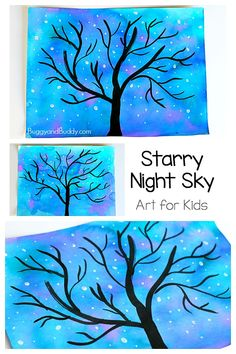 Winter Tree and Starry Night Sky art project for kids! Starry Night Sky Art Project for Kids: Use watercolors to make this nighttime star and tree scene. Perfect for preschool, kindergarten and up! (Can also be transformed into a winter tree. Winter Art Projects, Easy Art Projects, Projects For Kids, Art Project For Kids, Kids Painting Projects, Winter Project, Winter Crafts For Kids, School Art Projects, Ciel Art