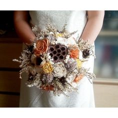 BIG cream ivory brown orange yellow rustic autumn fall wedding BOUQUET... ($110) ❤ liked on Polyvore featuring home, home decor, pine cone home decor, orange home accessories, burlap home decor, orange home decor and autumn home decor