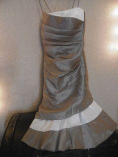 magnifique robe de soire ou mariage satine taupe et ivoire en 44 - Pochette Mariage Ecru