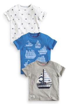 Купить Три футболки с аппликациями в виде корабля (3 мес.-6 лет) - Покупайте прямо сейчас на сайте Next: Россия