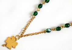Clover Necklace  gold plated  green czech by asteriascollection, $11.00