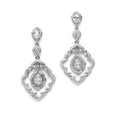 Art Deco Vintage Pave CZ Dangle Bridal Earrings