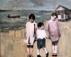 Mixed Media Painting, Mixed Media Collage, Mixed Media Canvas, Collage Art, Art Collages, Vintage Children, Vintage Girls, Beach Kids, Canadian Artists