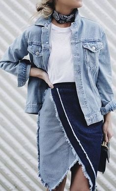 The perfect street style look is always bettered by some denim pieces. We love this chic patchwork denim skirt paired with an oversized denim jacket.