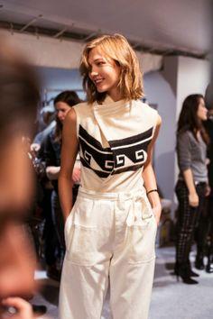 Karlie Kloss (IMG) backstage at Isabel Marant AW14