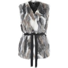 Jane Norman Mixed Fur Belted Gilet Coat ($85) ❤ liked on Polyvore featuring outerwear, coats, women, fur coat, sleeveless coat, jane norman, faux coat and fur gilet