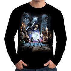 Velocitee Mens Long Sleeve T Shirt Reaper Spell Grim Horror Evil Goth A18000 #Velocitee