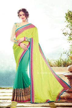 Buy Green Satin Designer Saree Online in low price at Variation. Huge collection of Designer Sarees for Wedding. #designer #designersarees #sarees #onlineshopping #latest #lowprice #variation. To see more - https://www.variationfashion.com/collections/designer-sarees