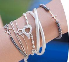 bransoletka łańcuszkowa z gwiazdką srebrną - Bransoletki pozłacane, srebrne i stalowe - Bransoletki - Biżuteria - Sklep internetowy Lilou