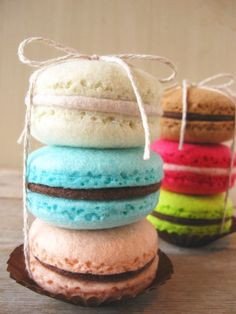$60 Order includes 6 Felt Macarons Colors: Plaster Mint blue Peach Coco Raspberry Lime You cant pass up on this sweet treat. It makes a perfect